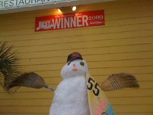 Snowman at Sandbridge Island Restaurant
